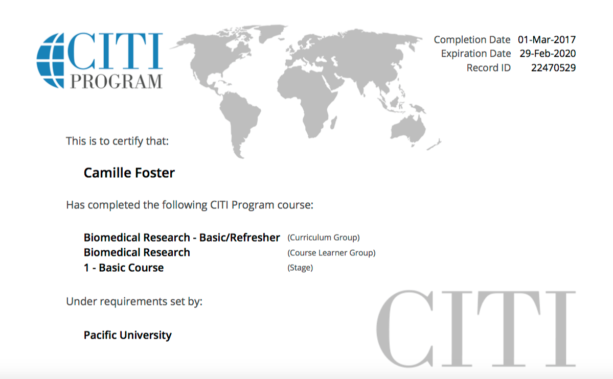 Credentials camille fosters eportfolio citi irb biomedical research certification 1betcityfo Choice Image