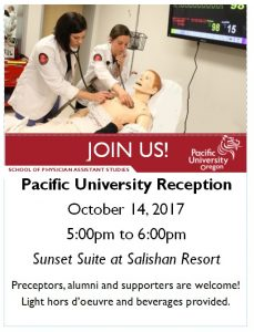 Anyone going to the CME at the Beach Oregon Society of Physician Assistants Conference?  There will be a Pacific University Reception this Saturday!